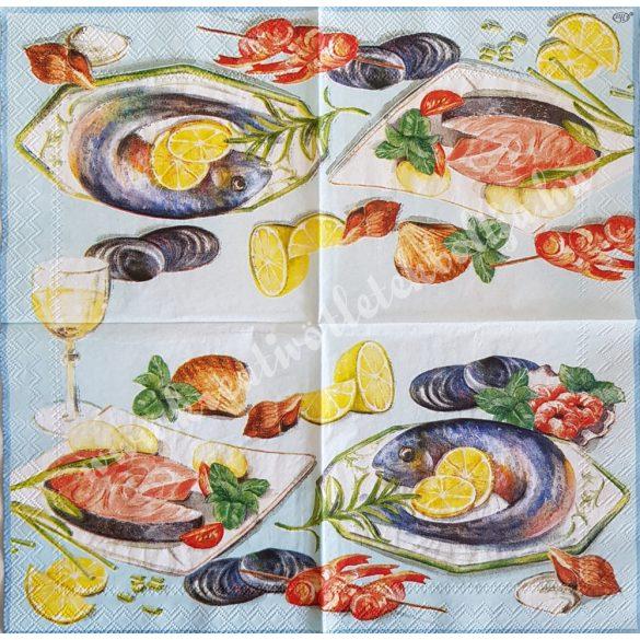 Szalvéta, ételek, tengeri herkentyű, 25x25 cm (11)