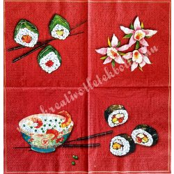 Szalvéta, ételek, szusi, 32x32 cm, 1 darab