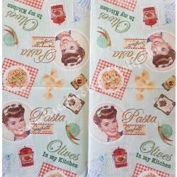 Szalvéta, ételek, tészta reklám, 32x32 cm, 1 darab