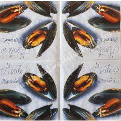 Szalvéta, ételek, kagyló, 32x32 cm, 1 darab