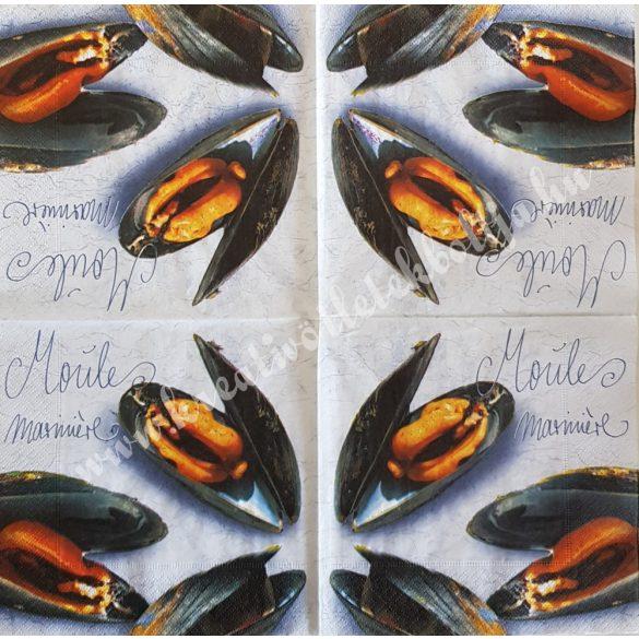 Szalvéta, ételek, kagyló, 33x33 cm (7)