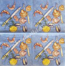 Szalvéta, ételek, tengeri herkentyű, 32x32 cm, 1 darab