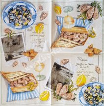 Szalvéta, ételek, tengeri herkentyű, 25x25 cm, 1 darab