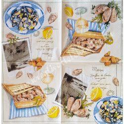 Szalvéta, ételek, tengeri herkentyű, 25x25 cm (9)