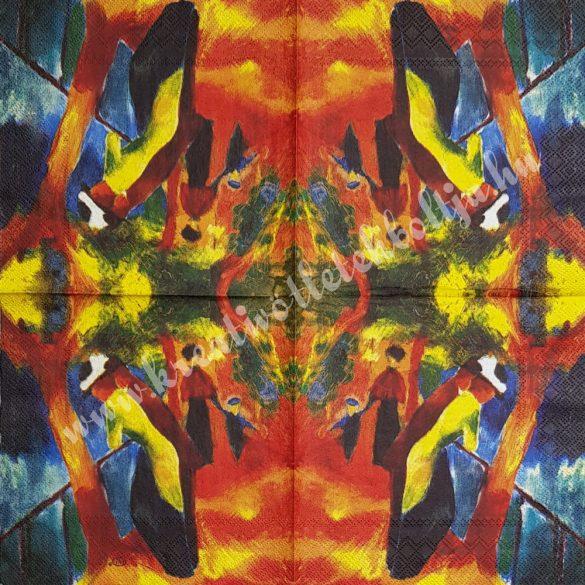 Szalvéta, festmény, Sunny Road, 33x33 cm (8)