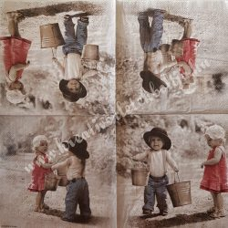 Szalvéta, gyerekmintás 13., gyerekek vödrökkel, 33x33 cm