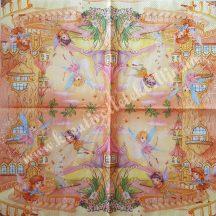 Szalvéta, gyerekmintás, tündér város, 32x32 cm, 1 darab
