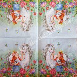 Szalvéta, gyerekmintás 23., lovas, 33x33 cm