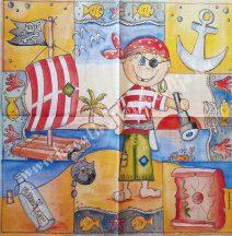 Szalvéta, gyerekmintás, kalóz, 32x32 cm, 1 darab