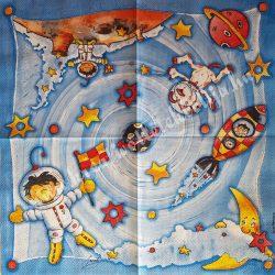Szalvéta, gyerekmintás 33., űrutazás, 33x33 cm
