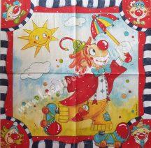 Szalvéta, gyerekmintás, bohóc, 32x32 cm, 1 darab