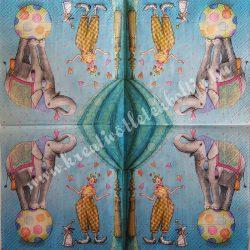 Szalvéta, gyerekmintás 6., cirkusz, 33x33 cm