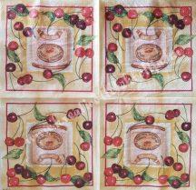 Szalvéta, gyümölcsök, cseresznye, 32x32 cm, 1 darab