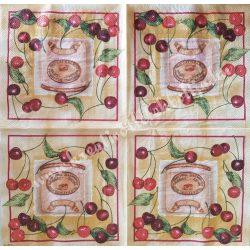 Szalvéta, gyümölcs, cseresznye, 32x32 cm, 1 darab