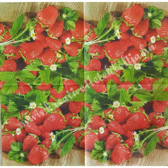 Szalvéta, gyümölcs, eper, 33x33 cm (1)