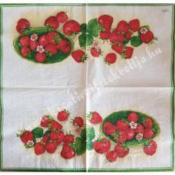 Szalvéta, gyümölcs, eper, 32x32 cm, 1 darab
