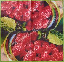 Szalvéta, gyümölcsök, málna, 32x32 cm, 1 darab