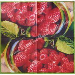 Szalvéta, gyümölcs, málna, 32x32 cm, 1 darab