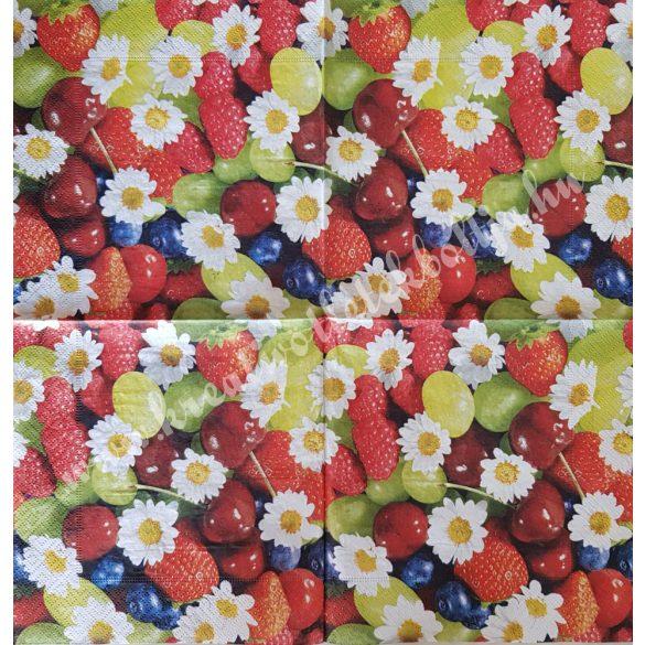 Szalvéta, gyümölcs, vegyes bogyós, 33x33 cm (11)