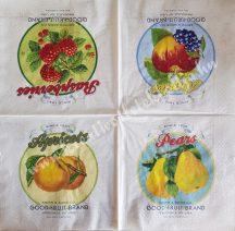 Szalvéta, gyümölcsök, 32x32 cm, 1 darab