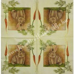 Szalvéta, háziállatok, nyuszi, 33x33 cm (7)