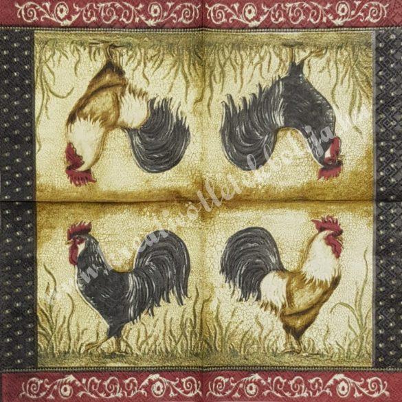 Szalvéta, háziállatok, kakas, 25x25 cm (10)