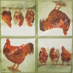 Szalvéta, háziállatok 16., tyúk és kakas, 25x25 cm