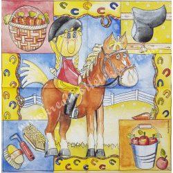 Szalvéta, háziállatok 30., gyerek lovaglás, 33x33 cm