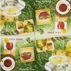 Szalvéta, kávé és tea, zöld tea, 32x32 cm, 1 darab