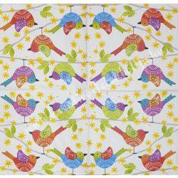 Szalvéta, madarak 10, 33x33 cm