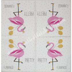 Szalvéta, madarak 22., flamingó, 33x33 cm