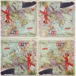 Szalvéta, országok, Európa, 32x32 cm, 1 darab