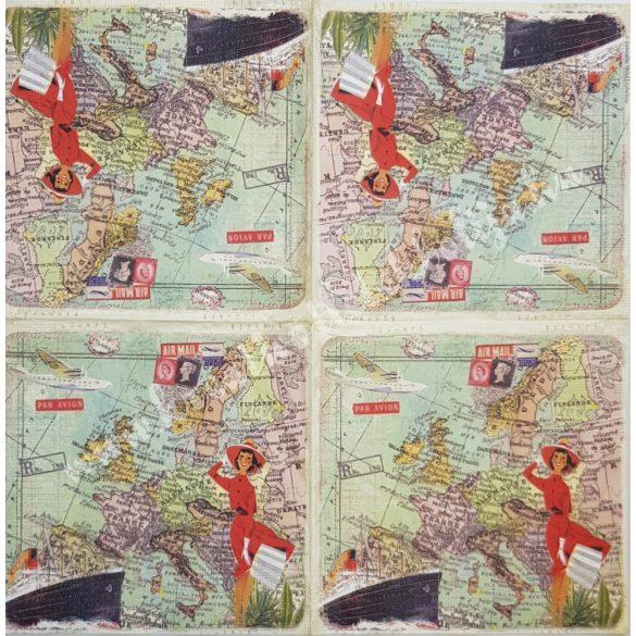 Szalvéta, országok, Európa, 33x33 cm (28)