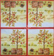 Szalvéta, őszi gyümölcsök, alma, 32x32 cm, 1 darab