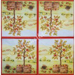 Szalvéta, őszi gyümölcs, alma, 32x32 cm, 1 darab