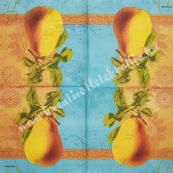 Szalvéta, őszi gyümölcs, körte, 32x32 cm, 1 darab