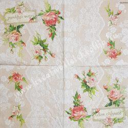 Szalvéta, rózsa, 33x33 cm (10)