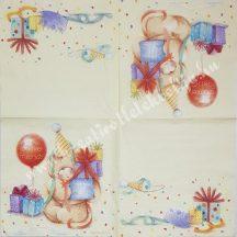 Szalvéta, születésnap, 32x32 cm, 1 darab