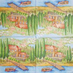 Szalvéta, tájkép, 33x33 cm (11)