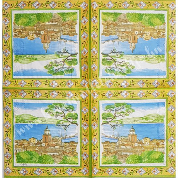 Szalvéta, tájkép, 33x33 cm (22)