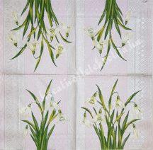 Szalvéta, tavaszi virágok, hóvirág, 32x32 cm, 1 darab