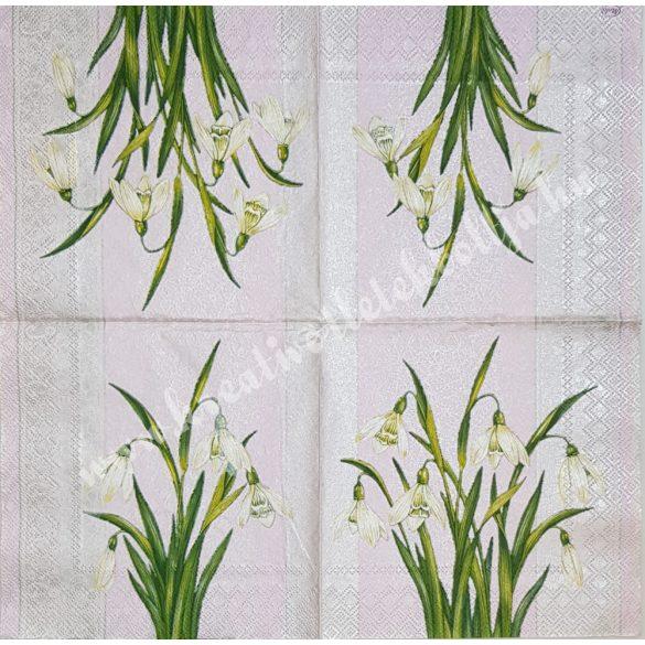 Szalvéta, tavaszi virágok, hóvirág, 33x33 cm (4)
