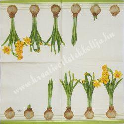 Szalvéta, tavaszi virágok, nárcisz, 32x32 cm, 1 darab