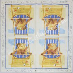 Szalvéta, tenger, maci, strand, 33x33 cm (14)