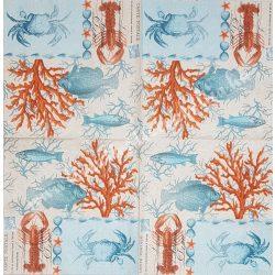 Szalvéta, tenger, rákok, halak, 33x33 cm (20)