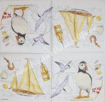 Szalvéta, tenger, hajó, madarak, pingvin, 32x32 cm, 1 darab