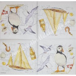 Szalvéta, tenger, hajó, madarak, 32x32 cm, 1 darab