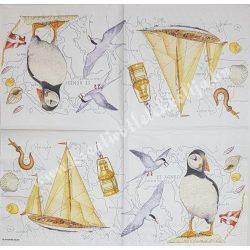 Szalvéta, tenger, hajó, madarak, 33x33 cm (22)