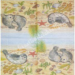 Szalvéta, tenger, fóka, 32x32 cm, 1 darab