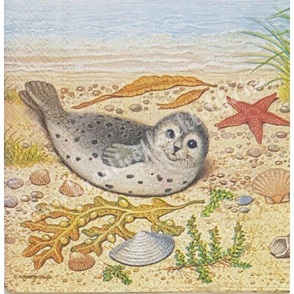 Szalvéta, tenger, fóka, 33x33 cm (23)